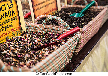 Spices Store at the Oriental Market in Granada, Spain