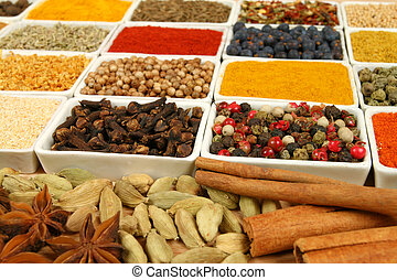 Spices. - Variety of spices - whole diversity of various...