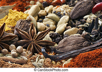 Spices - Various spices in full-frame.  Focus on star anise.