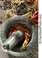 Granite mortar and pestle with spices ready for grinding. Perfect for making garam masala. Includes dried red chilies, cinnamon, peppercorns, cardamom, coriander, cloves, star anise, cumin, and fennel.