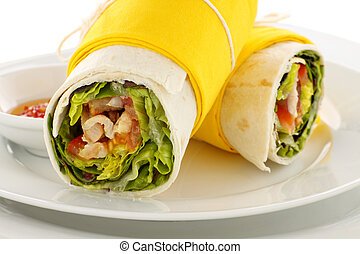 Spicy Chicken Wraps - Delicious spicy chicken wraps in...