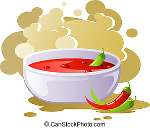 Spicy chili soup. EPS 8, AI, JPEG