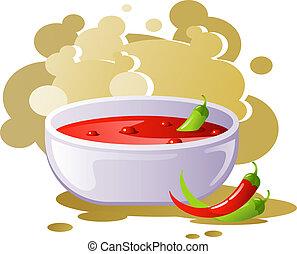 Spicy chili soup. EPS 8, AI, JPEG