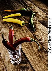 Spicy chilli peppers