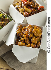 Spicy Chinese Take Out Food with Chopsticks and Fortune ...