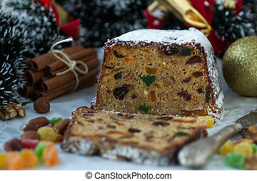 spicy Christmas cake with nuts and dried fruits