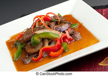 Spicy Eggplant with Beef Thai Food
