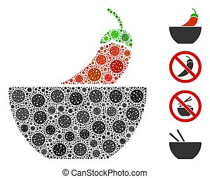 Spicy Food Collage of CoronaVirus Elements - Collage spicy ...