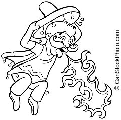 Spicy Food Mexican Cartoon Line Art isolated on a white ...