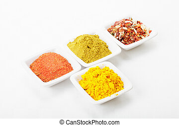Spicy formation consisting of saffron in front and various...