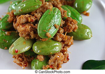 fried pork with stink bean food in thailand - spicy fried ...