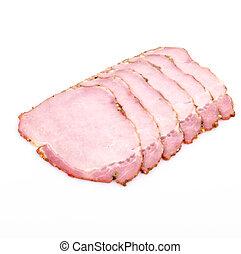 Spicy ham on white background