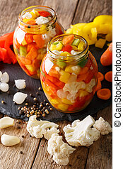 Spicy Homemade Pickled Giardiniera with Peppers, Carrots and...