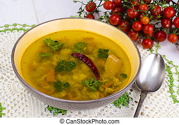 Spicy Indian soup with cereals
