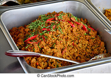 Spicy Mince Pork with Chili Paste or Kua Kling in local resturrunt