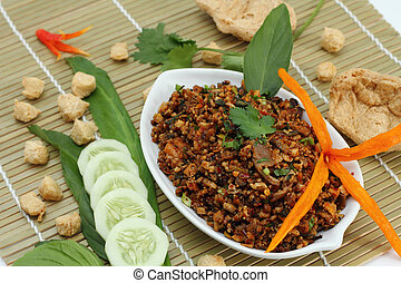 Spicy minced mushroom is vegetarian food. - Spicy minced...