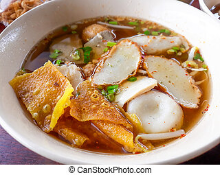 Spicy Noodle Soup with fish balls.