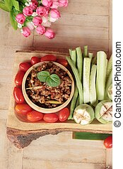 Spicy pork pastes delicious with fresh vegetables.