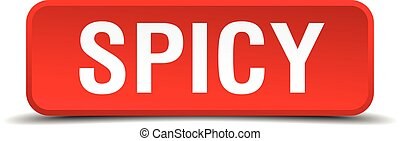 Spicy red 3d square button isolated on white