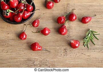 Spicy red chili peppers