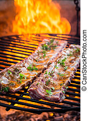 Spicy ribs with thyme and spices on grill