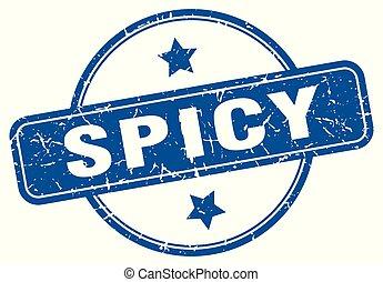 spicy round grunge isolated stamp