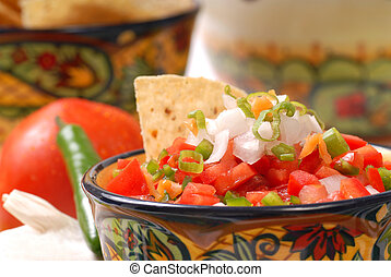 Spicy salsa with tortilla chips - Fresh spicy salsa with...