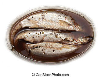 spicy salted herring on a white background