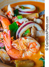 Mixed seafood hot and spicy soup, thai cuisine.