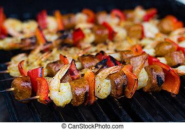 spicy shrimp and sausage skewer
