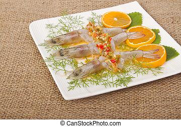 Spicy shrimp in fish sauce sea ,Thai food delicious