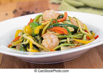 spicy shrimp saut? on vegetable zucchini noodle