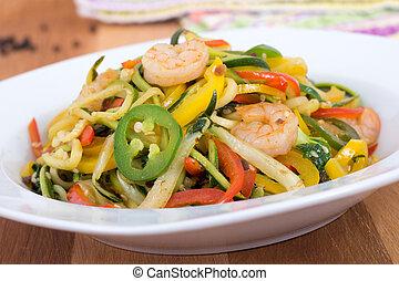 spicy shrimp saut? on vegetable zuc