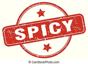 spicy sign - spicy vintage round isolated stamp