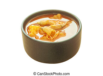 Spicy sour soup with vegetable isolated, Clipping path