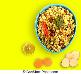 Spicy south indian breakfast chitranna or poha