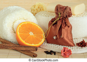 Spicy Spa Cleansing Products - Spice selection and orange...
