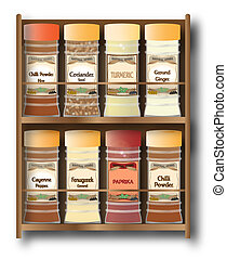 Spicy Spice Rack On White - A small spice rack with hot...
