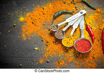 Spicy spices in measuring spoons.