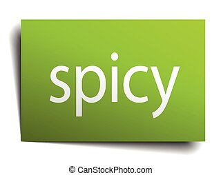 spicy square paper sign isolated on white