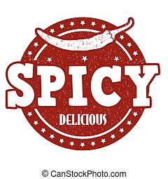 Spicy grunge rubber stamp on white background, vector illustration