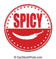 Spicy stamp - Spicy grunge rubber stamp on white, vector...