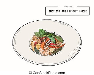 spicy stir fried instant noodle . - spicy stir fried instant...