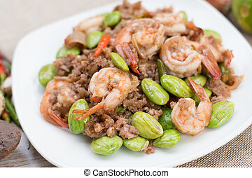 Spicy stir-fried shrimp with bitter or twisted cluster or ...