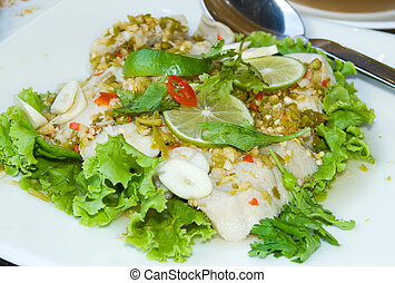 Spicy Thai fish and lime salad