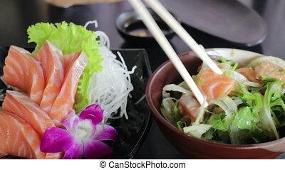 Spicy Thai Herb Salmon Salad, stock video