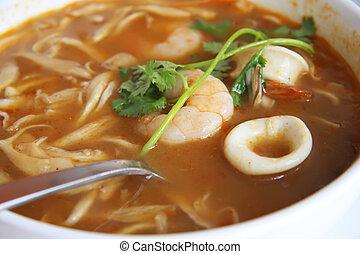 Spicy thomyam soup - Spicy thomyam seafood soup traditional...