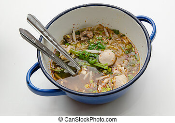 Spicy Tom Yum Noodle, a Thai Food
