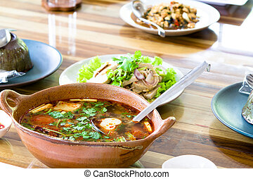 Spicy tom yum soup with shrimp