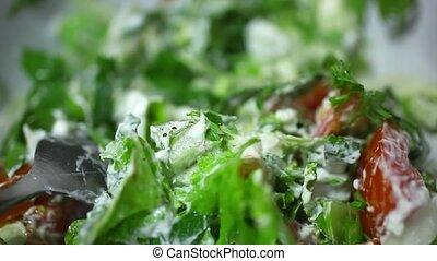 Spicy vegetable salad ready. Macro video 1920*1080